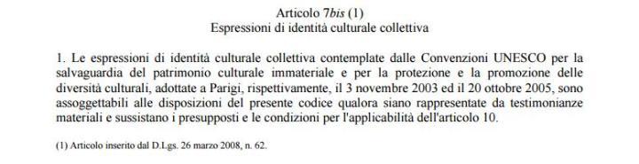 art 7 bis codice 42/2004