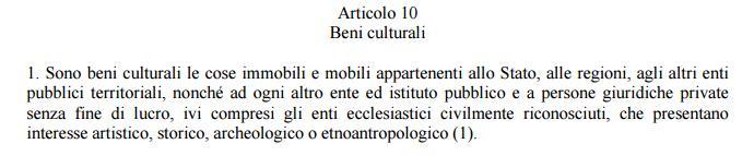 Codice 42/2004 Articolo 10 comma 1