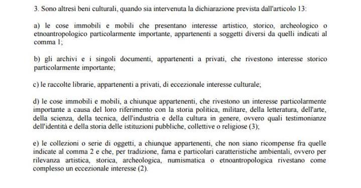 Codice 42/2004 art.10 comma3