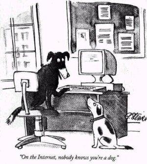 Su internet nessuno sa che sei un cane: vignetta anti 2.0 datata 2005