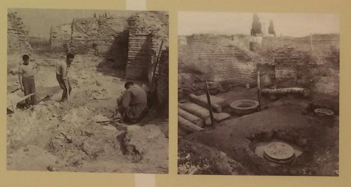 Foto d'epoca in corso di scavo del crollo delle pareti in opus sectile