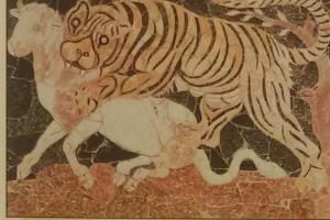 Una tigre assale un toro. Ostia, domus di Porta Marina