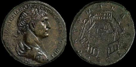 sesterzio di Traiano portus